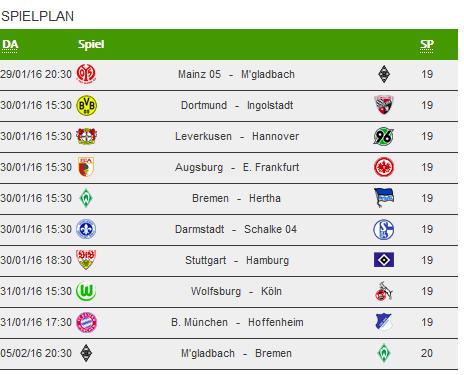Der 19. Spieltag der Bundesliga