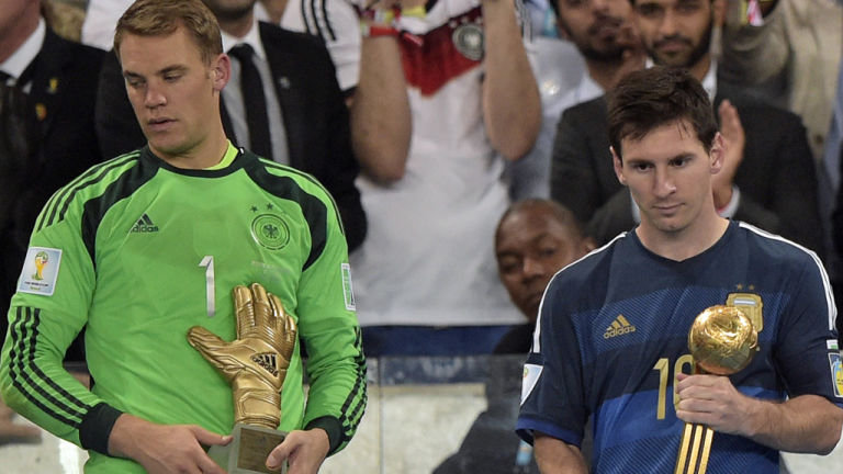 Golden glove winner Neuer and Lionel Messi at the World Cup