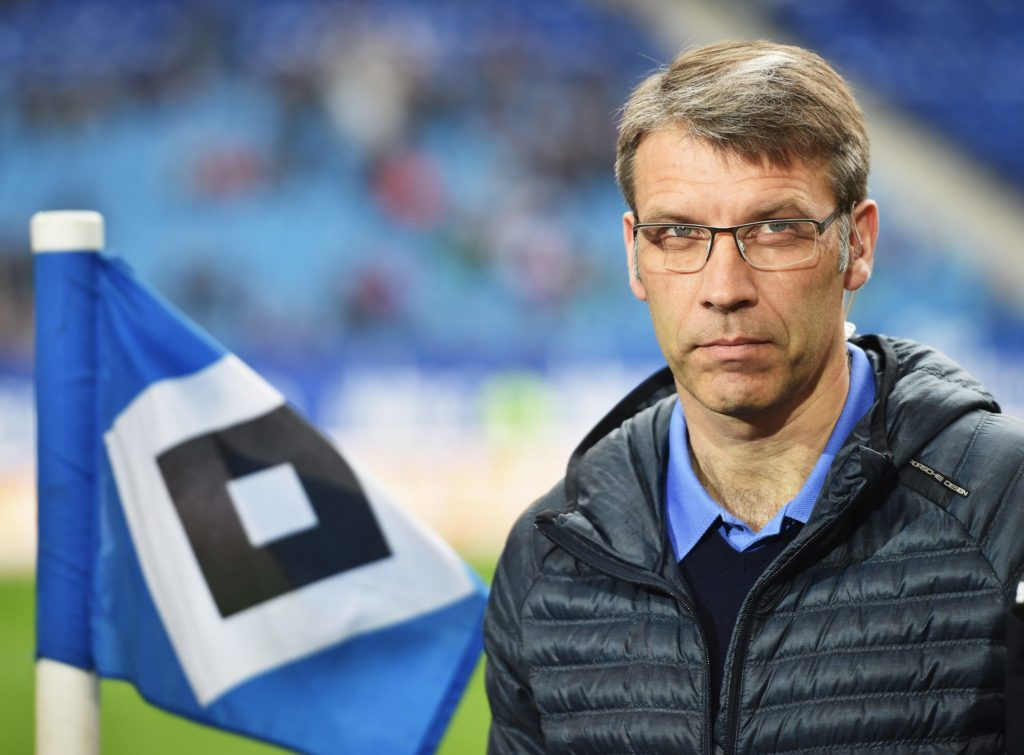 HAMBURG, GERMANY - APRIL 25: Peter Knaebel, director of professional football of Hamburg looks on during the Bundeslga match between Hamburger SV and FC Augsburg at Imtech Arena on April 25, 2015 in Hamburg, Germany. (Photo by Stuart Franklin/Bongarts/Getty Images)
