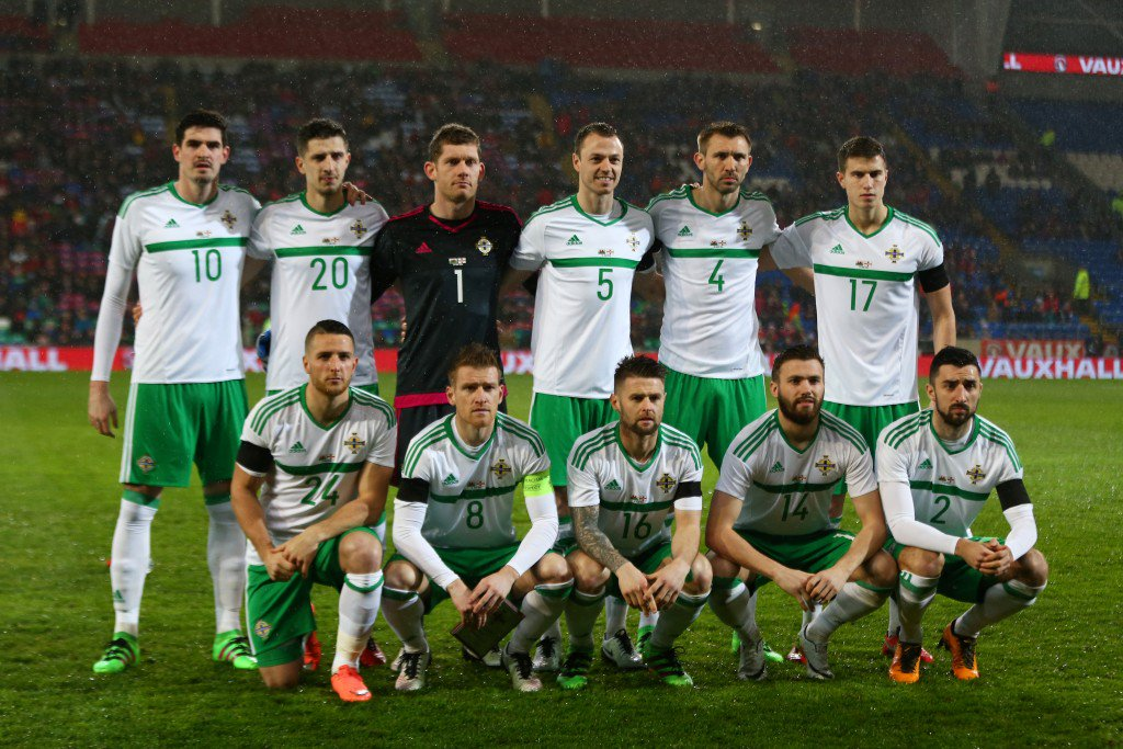 CARDIFF, WALES - MARCH 24: The Northern Ireland team pose for the cameras prior to kickoff during the international friendly match between Wales and Northern Ireland at the Cardiff City Stadium on March 24, 2016 in Cardiff, Wales. (Photo by Michael Steele/Getty Images)