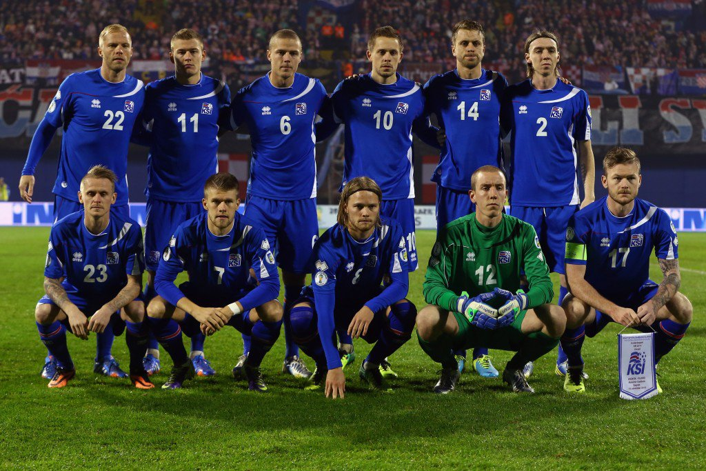 ZAGREB, CROATIA - NOVEMBER 19: Players of Iceland pose for a team photo prior to the FIFA 2014 World Cup Qualifier play-off second leg match between Croatia and Iceland at Maksimir Stadium on November 19, 2013 in Zagreb, Croatia. (Photo by Alex Grimm/Getty Images)