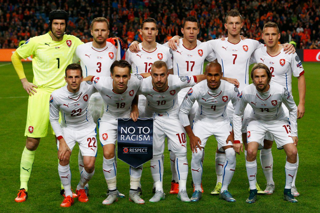 AMSTERDAM, NETHERLANDS - OCTOBER 13: The Czech team line up prior to the Group A, UEFA EURO 2016 qualifying match between Netherlands and Czech Republic held at Amsterdam Arena on October 13, 2015 in Amsterdam, Netherlands. (Photo by Dean Mouhtaropoulos/Getty Images)