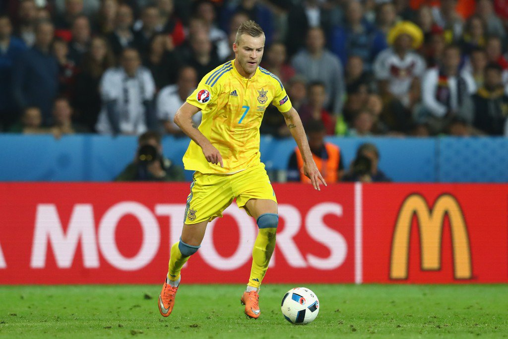 LILLE, FRANCE - JUNE 12: Andriy Yarmolenko of Ukraine runs with the ball during the UEFA EURO 2016 Group C match between Germany and Ukraine at Stade Pierre-Mauroy on June 12, 2016 in Lille, France. (Photo by Alexander Hassenstein/Getty Images)