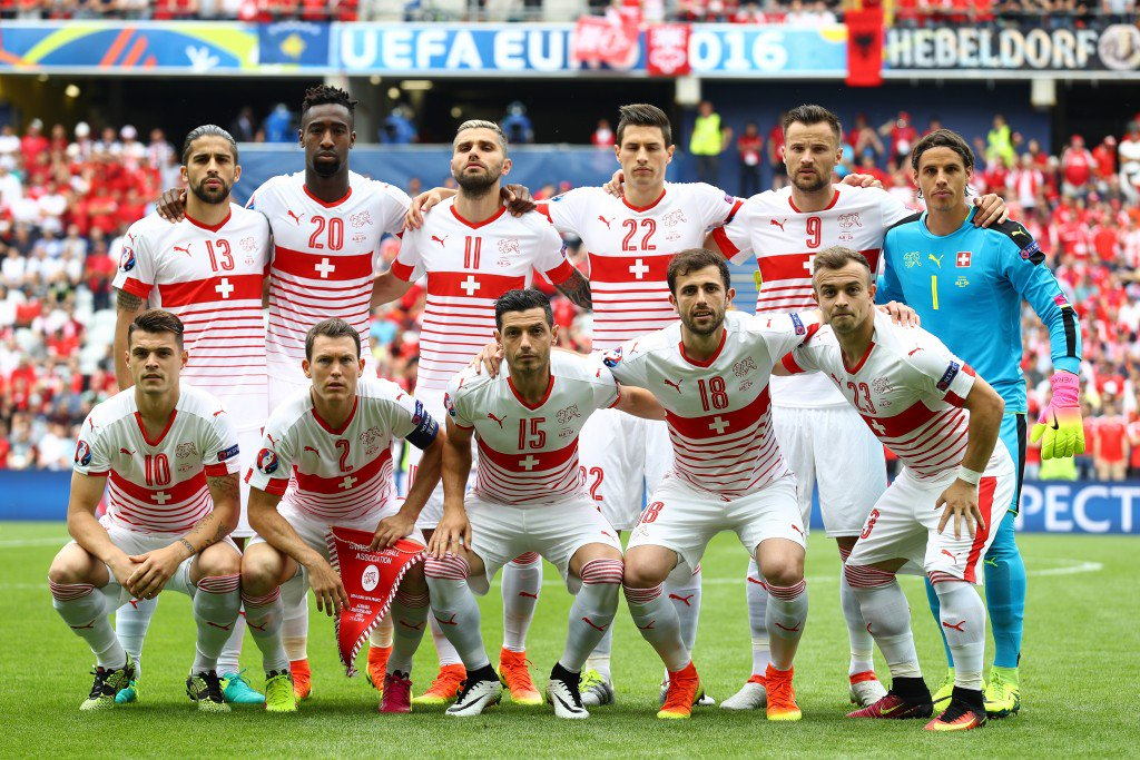 LENS, FRANCE - JUNE 11: Switzerland players line up for the team photos prior to the UEFA EURO 2016 Group A match between Albania and Switzerland at Stade Bollaert-Delelis on June 11, 2016 in Lens, France. (Photo by Paul Gilham/Getty Images)