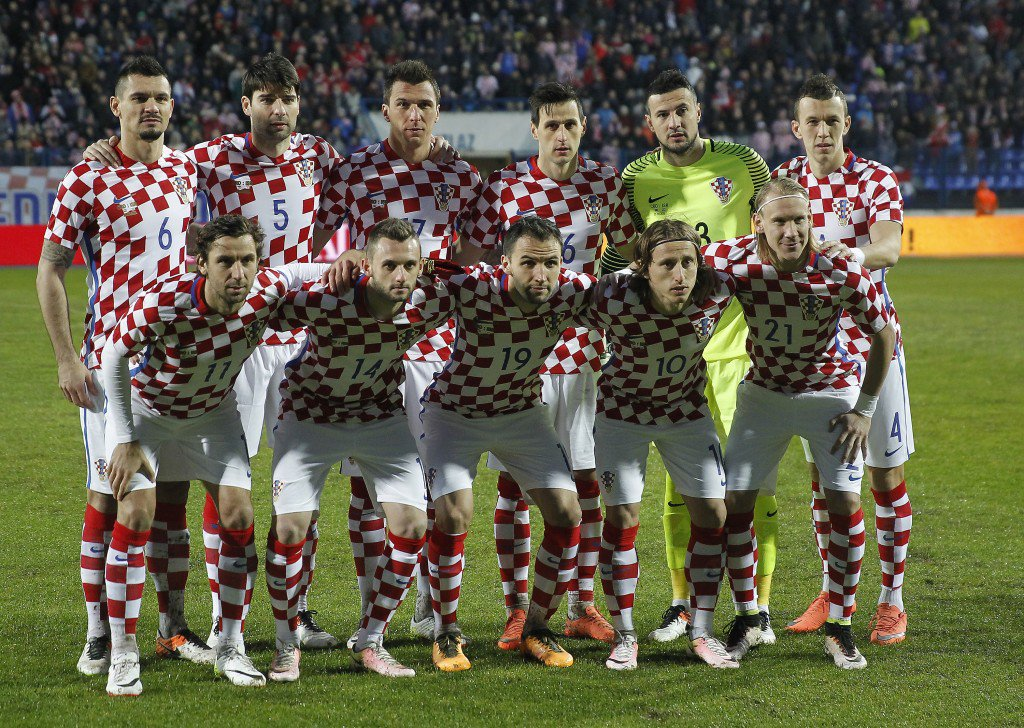 OSIJEK, CROATIA - MARCH 23: Croatia national football team pose for the photo before the International Friendly match between Croatia and Israel at Stadium Gradski Vrt on March 23, 2016 in Osijek, Croatia. (Photo by Srdjan Stevanovic/Getty Images)