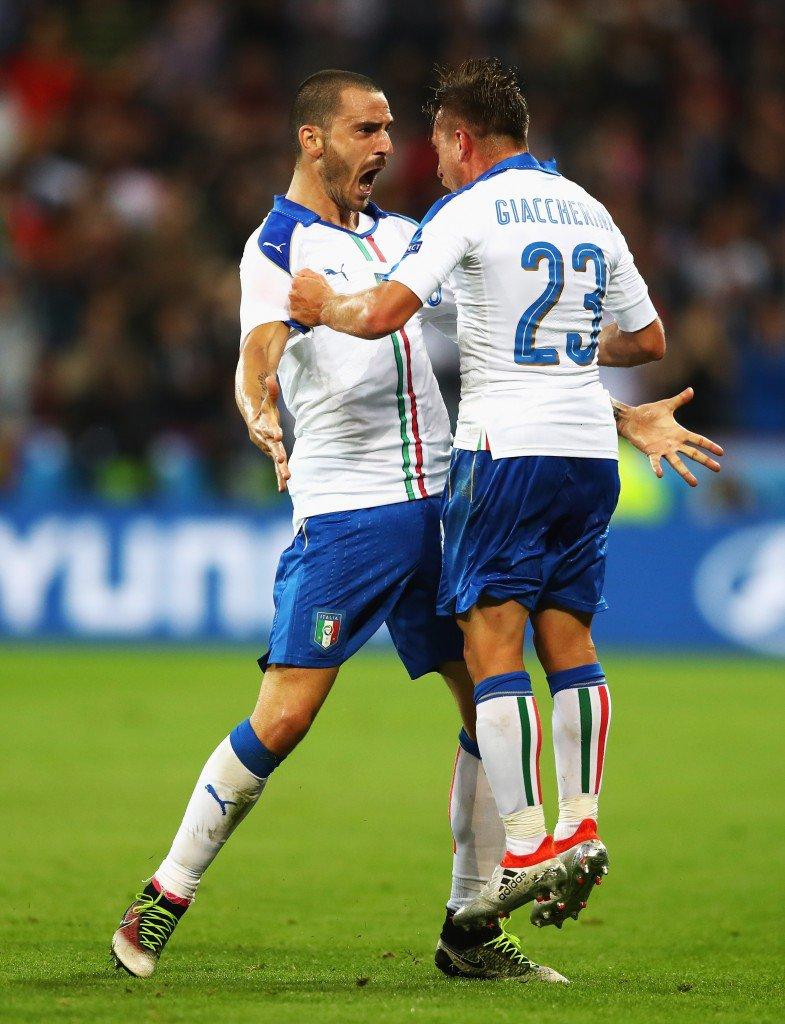 LYON, FRANCE - JUNE 13: Emanuele Giaccherini (R) of Italy celebrates scoring his team