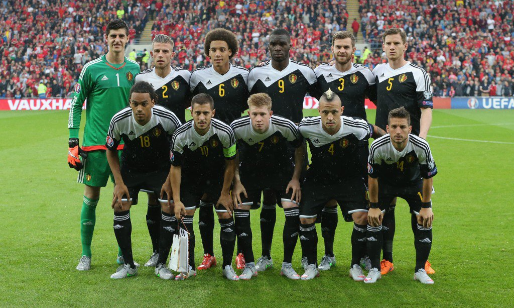 CARDIFF, WALES - JUNE 12: The Belgium team pose during the UEFA EURO 2016 qualifying match between Wales and Belgium at the Cardiff City Stadium on June 12, 2015 in Cardiff, United Kingdom. (Photo by David Rogers/Getty Images)