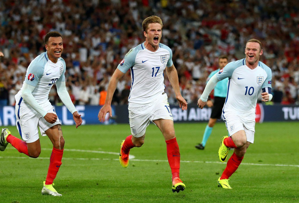 MARSEILLE, FRANCE - JUNE 11: Eric Dier (C) of England celebrates scoring his team
