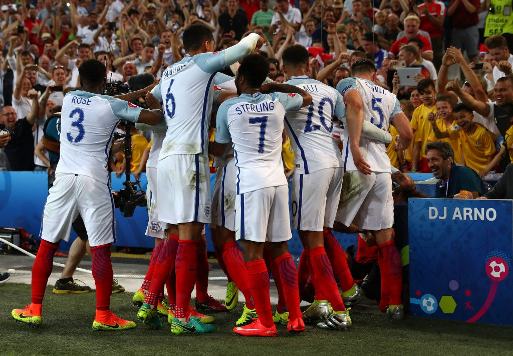MARSEILLE, FRANCE - JUNE 11: England players celebrate their first goal during the UEFA EURO 2016 Group B match between England and Russia at Stade Velodrome on June 11, 2016 in Marseille, France. (Photo by Lars Baron/Getty Images)