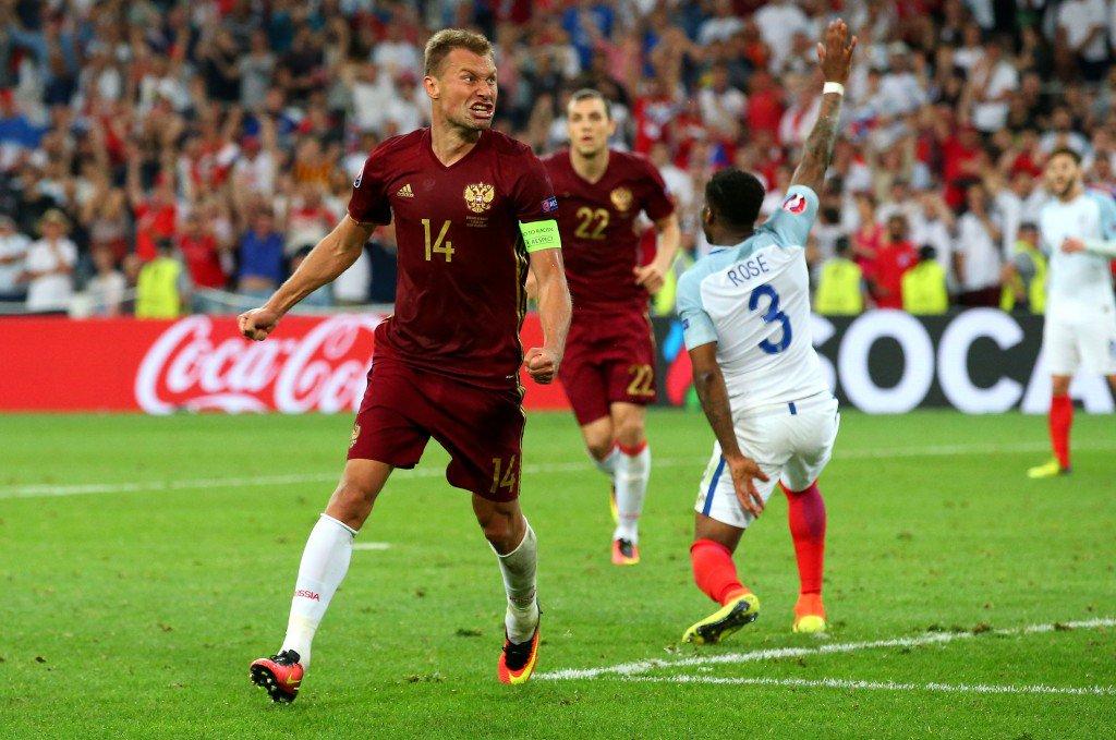 MARSEILLE, FRANCE - JUNE 11: Vasili Berezutski of Russia celebrates as he scores his team