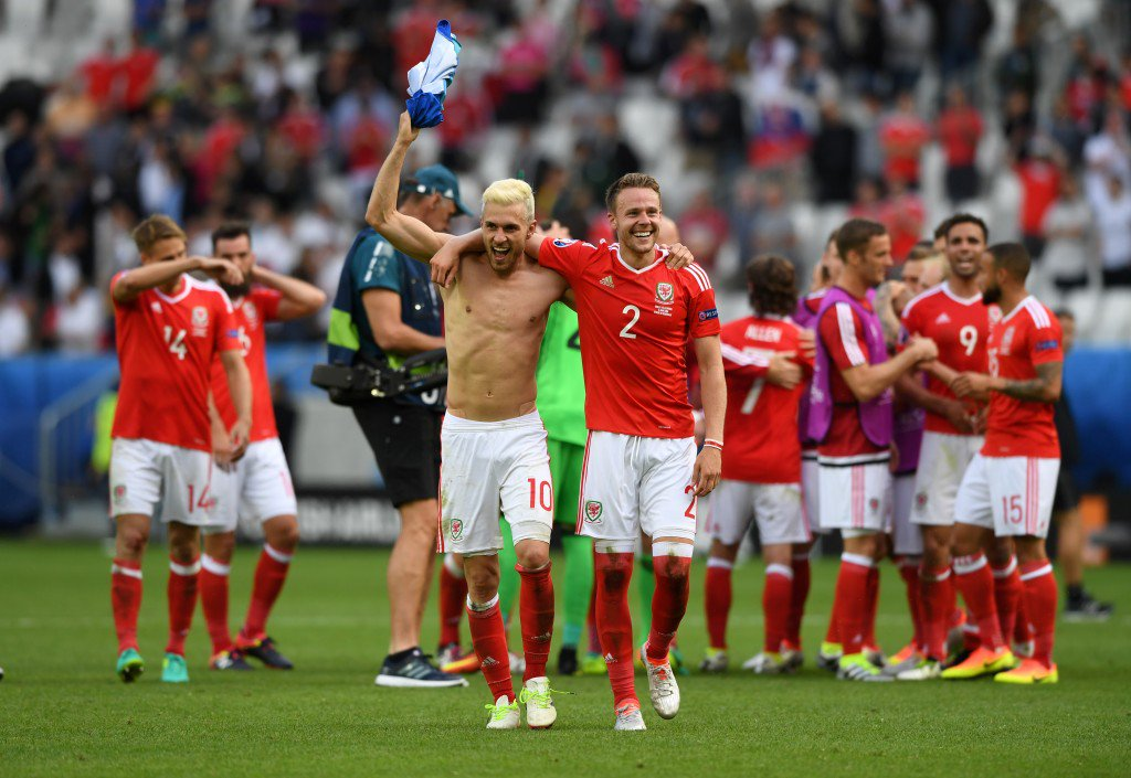 BORDEAUX, FRANCE - JUNE 11: Aaron Ramsey (l) of Wales celebrates his team