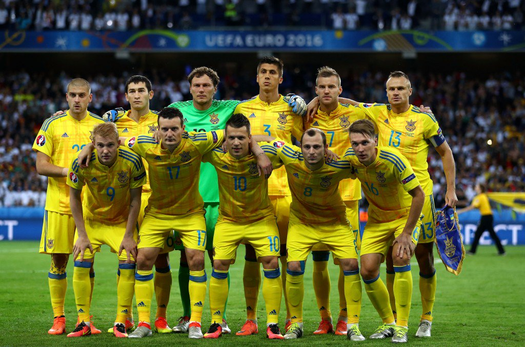 LILLE, FRANCE - JUNE 12: Ukraine players line up for the team photos prior to the UEFA EURO 2016 Group C match between Germany and Ukraine at Stade Pierre-Mauroy on June 12, 2016 in Lille, France. (Photo by Clive Mason/Getty Images)