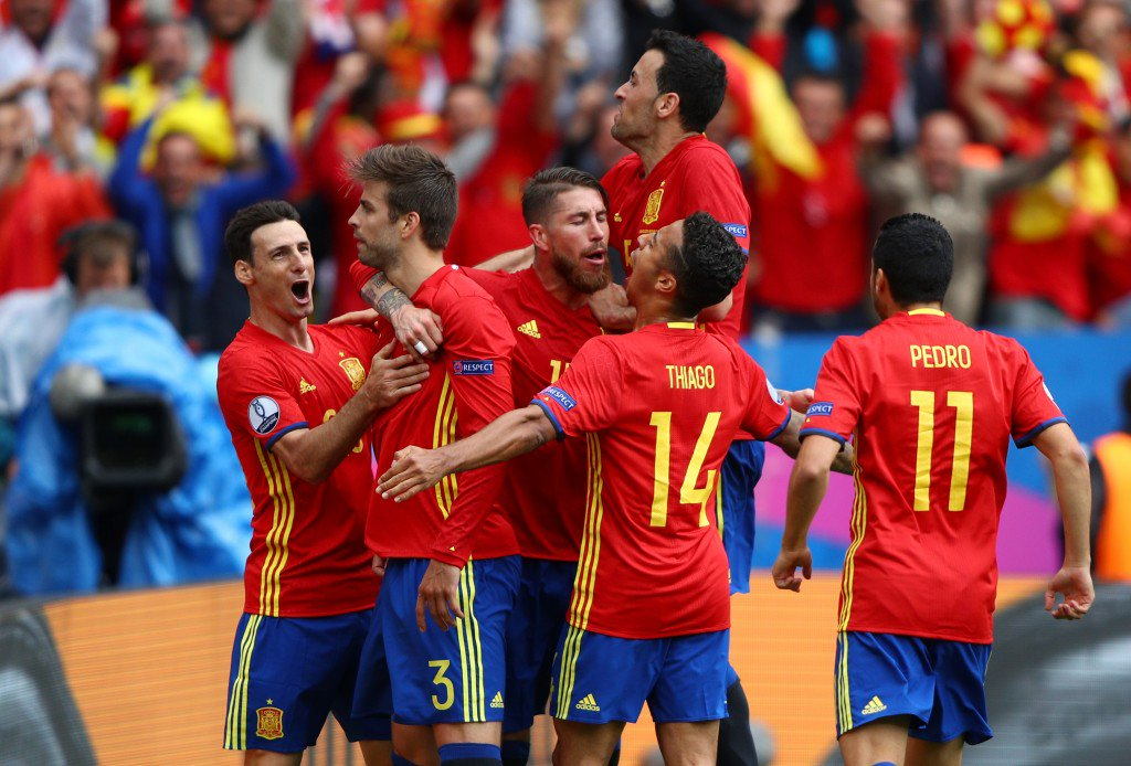 TOULOUSE, FRANCE - JUNE 13: Gerard Pique (2nd L) of Spain celebrates scoring his team