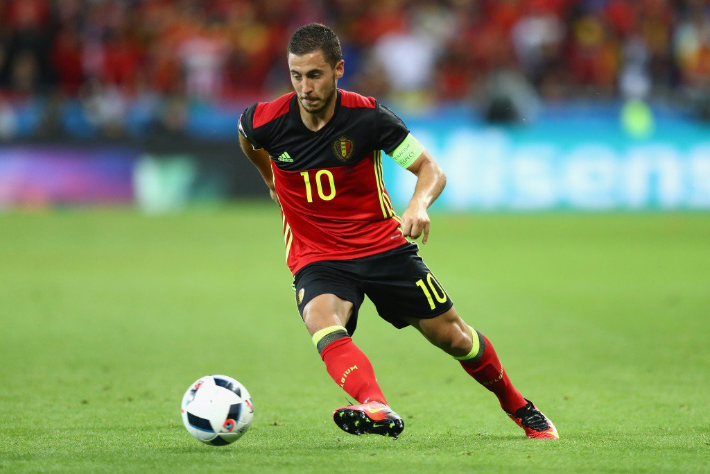 LYON, FRANCE - JUNE 13: Eden Hazard of Belgium in action during the UEFA EURO 2016 Group E match between Belgium and Italy at Stade des Lumieres on June 13, 2016 in Lyon, France. (Photo by Julian Finney/Getty Images)