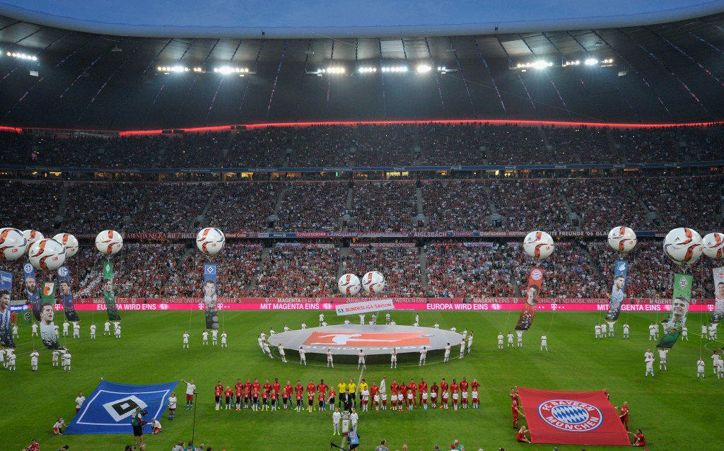 MUNICH, GERMANY - AUGUST 14: Opening ceremony prior to the Bundesliga match between FC Bayern Muenchen and Hamburger SV at Allianz Arena on August 14, 2015 in Munich, Germany. (Photo by Lennart Preiss/Bongarts/Getty Images)