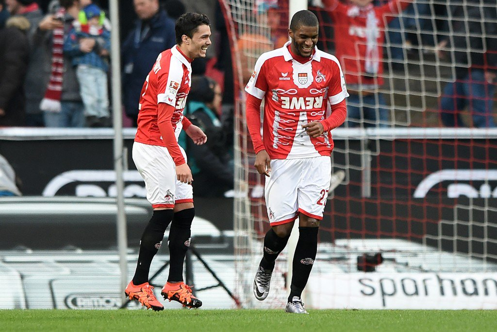 COLOGNE, GERMANY - JANUARY 23: Anthony Modeste (R) of Koeln celebrates with team mate Leonardo Bittencourt (L) after scoring the opening goal by a penalty during the Bundesliga match between 1. FC Koeln and VfB Stuttgart at RheinEnergieStadion on January 23, 2016 in Cologne, Germany. (Photo by Sascha Steinbach/Bongarts/Getty Images)