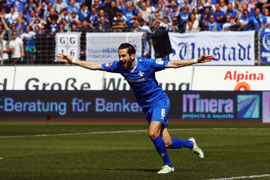 DARMSTADT, GERMANY - APRIL 30: Mario Vrancic of Darmstadt celebrates his team