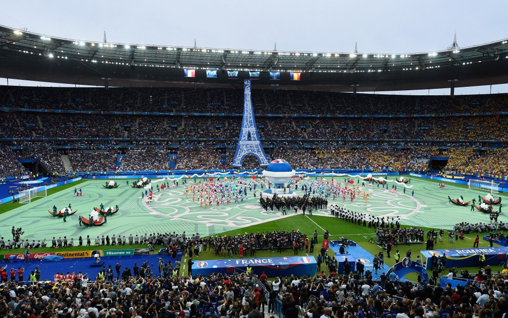 PARIS, FRANCE - JUNE 10: A general view of the opening ceremony during the UEFA Euro 2016 Group A match between France and Romania at Stade de France on June 10, 2016 in Paris, France. (Photo by Mike Hewitt/Getty Images)