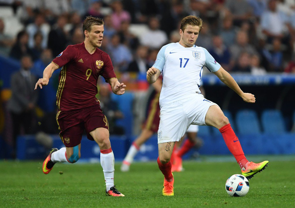 MARSEILLE, FRANCE - JUNE 11: Eric Dier of England and Aleksandr Kokorin of Russia compete for the ball during the UEFA EURO 2016 Group B match between England and Russia at Stade Velodrome on June 11, 2016 in Marseille, France. (Photo by Laurence Griffiths/Getty Images)