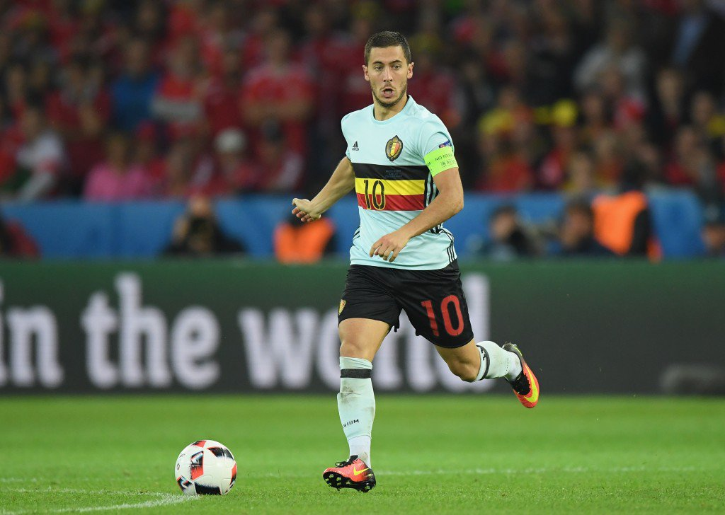 LILLE, FRANCE - JULY 01: Eden Hazard of Belgium in action during the UEFA EURO 2016 quarter final match between Wales and Belgium at Stade Pierre-Mauroy on July 1, 2016 in Lille, France. (Photo by Matthias Hangst/Getty Images)