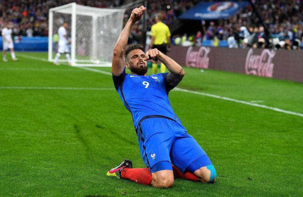 PARIS, FRANCE - JULY 03: Olivier Giroud of France celebrates scoring his team