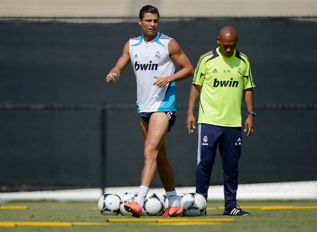 LOS ANGELES, CA - AUGUST 01: Cristiano Ronaldo of Real Madrid warms up during a training session on the UCLA campus on August 1, 2012 in Los Angeles, California. Real Madrid will play a friendly soccer match against the Los Angeles Galaxy on Thursday at the Home Depot Center. (Photo by Kevork Djansezian/Getty Images)