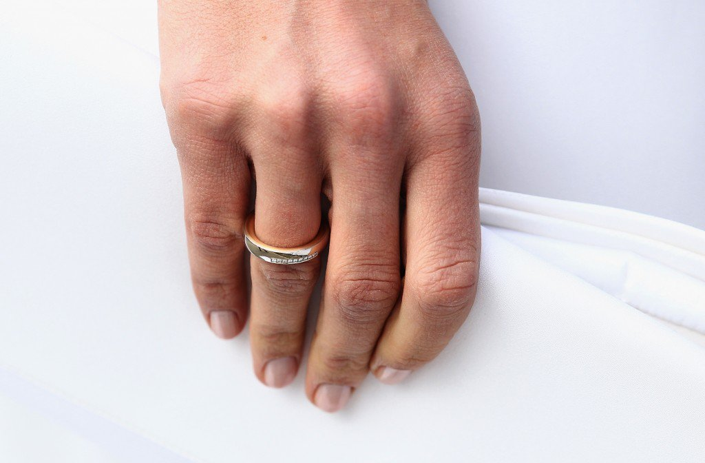 GOING AM WILDEN KAISER, AUSTRIA - APRIL 16: The wedding ring of Maria Hoefl-Riesch is pictured after the church wedding at the Pfarrkirche on April 16, 2011 in Going am Wilden Kaiser, Austria. (Photo by Andreas Rentz/Getty Images)