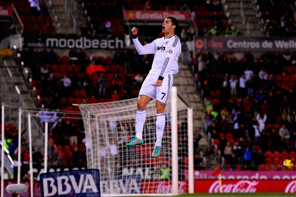 MALLORCA, SPAIN - OCTOBER 28: Cristiano Ronaldo of Real Madrid CF celebrates after scoring his team