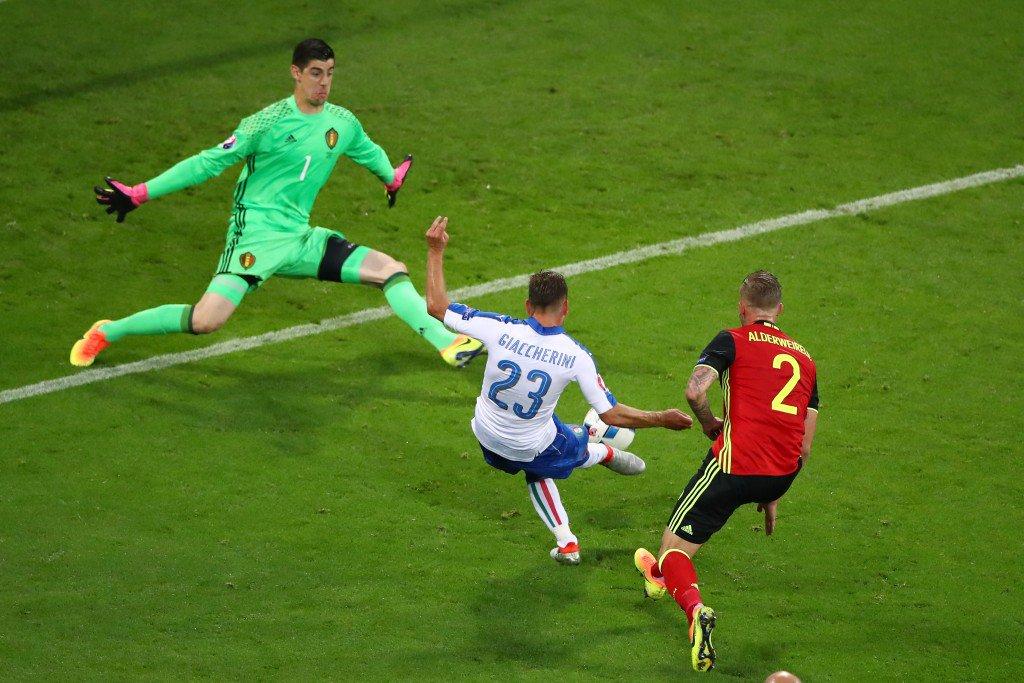 LYON, FRANCE - JUNE 13: Emanuele Giaccherini (C) of Italy scores his team
