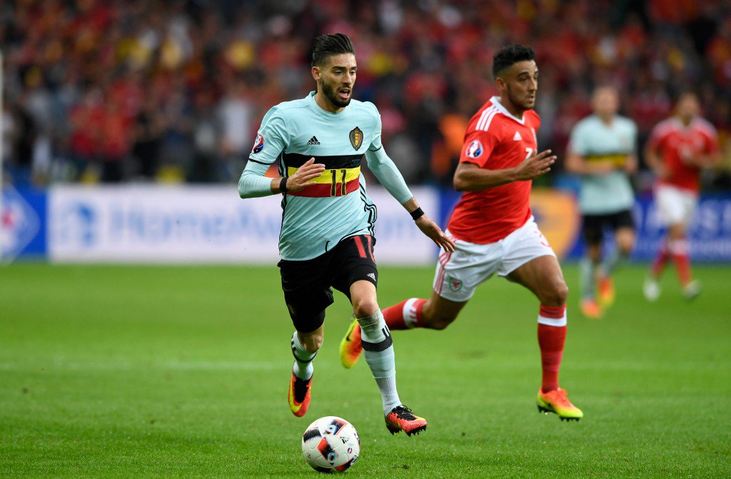 LILLE, FRANCE - JULY 01: Belgium player Yannick Carrasco in action during the UEFA Euro 2016 Quarter Final match between Wales and Belgium at Stade Pierre-Mauroy on July 1, 2016 in Lille, France. (Photo by Stu Forster/Getty Images)