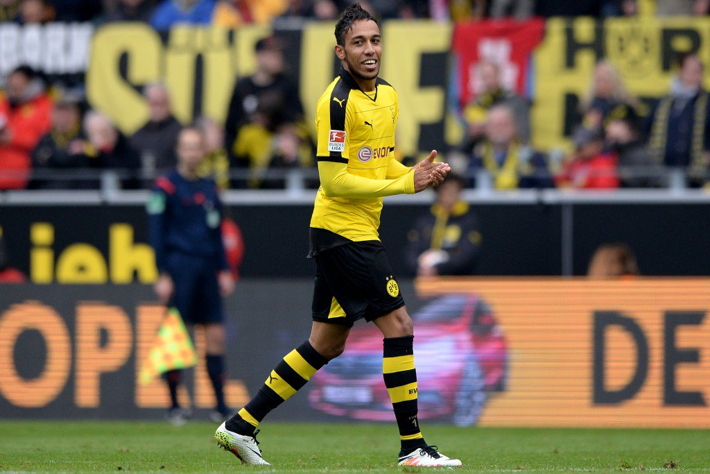 DORTMUND, GERMANY - APRIL 30: Pierre-Emerick Aubameyang of Dortmund celebrates after scoring his team