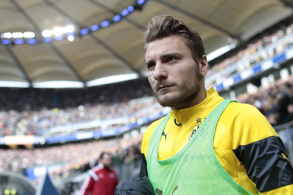 HAMBURG, GERMANY - MARCH 07: Ciro Immobile of Dortmund looks on prior to the First Bundesliga match between Hamburger SV and Borussia Dortmund at Imtech Arena on March 7, 2015 in Hamburg, Germany. (Photo by Oliver Hardt/Bongarts/Getty Images)