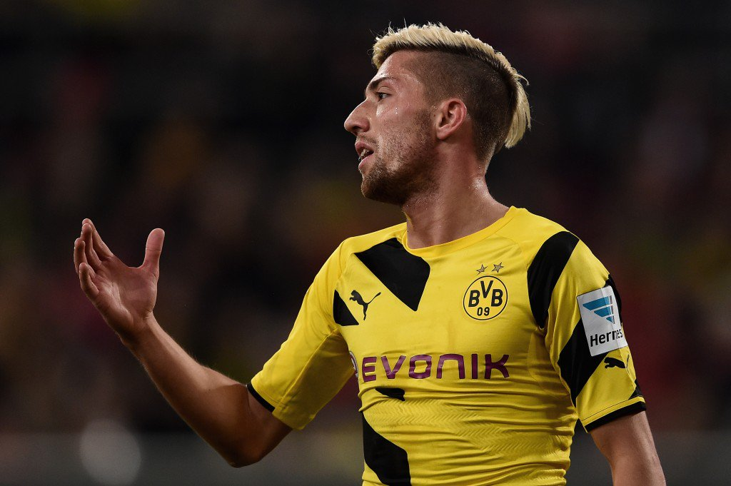 DUESSELDORF, GERMANY - JANUARY 24: Kevin Kampl of Borussia Dortmund despairs after missing a chance at goal during the friendly match between Fortuna Duesseldorf and Borussia Dortmund at Esprit-Arena on January 24, 2015 in Duesseldorf, Germany. (Photo by Dennis Grombkowski/Bongarts/Getty Images)