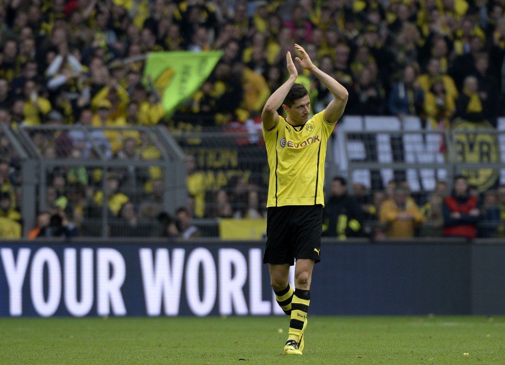 DORTMUND, GERMANY - MAY 03: Robert Lewandowski of Dortmund leaves the pitch after substitution during the Bundesliga match between Borussia Dortmund and TSG 1899 Hoffenheim at Signal Iduna Park on May 3, 2014 in Dortmund, Germany. (Photo by Thorsten Wagner/Bongarts/Getty Images)