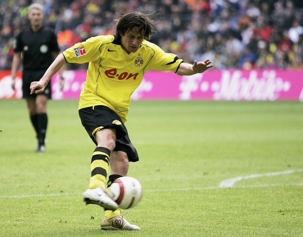 DORTMUND, GERMANY - MAY 08: Tomas Rosicky of Dortmund scores his first goal during the Bundesliga match between Borussia Dortmund and Werder Bremen at the Westfalen Stadium on May 8, 2005 in Dortmund, Germany. (Photo by Christof Koepsel/Bongarts/Getty Images)
