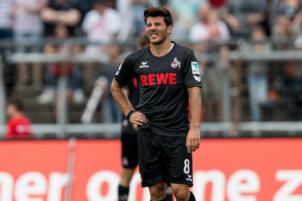COLOGNE, GERMANY - JULY 26: Milos Jojic of FC Koeln (L) reacts during the pre-season friendly match between Fortuna Koeln and 1. FC Koeln at Sued Stadion on July 26, 2016 in Cologne, Germany. (Photo by Maja Hitij/Bongarts/Getty Images)