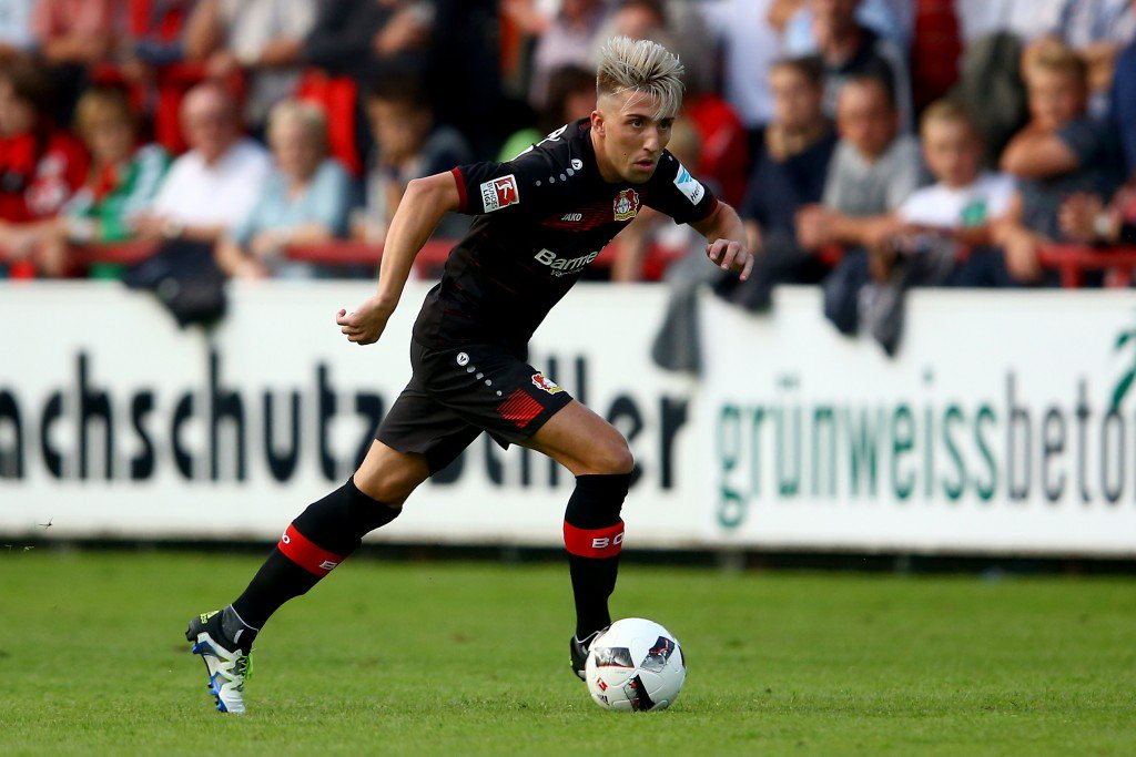 VERL, GERMANY - JULY 15: Kevin Kampl of Leverkusen runs with the ball during the friendly match between SC Verl and Bayer Leverkusen at Sportclub Arena on July 15, 2016 in Verl, Germany. The macth between Verl and Leverkusen ende 1-1. (Photo by Christof Koepsel/Bongarts/Getty Images)