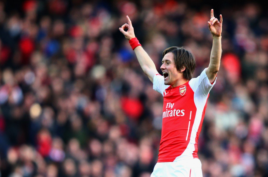 LONDON, ENGLAND - MARCH 01: Tomas Rosicky of Arsenal celebrates as he scores their second goal during the Barclays Premier League match between Arsenal and Everton at Emirates Stadium on March 1, 2015 in London, England. (Photo by Ian Walton/Getty Images)