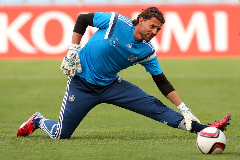 FARO, PORTUGAL - JUNE 12: Roman Weidenfeller of Germany warms up for a training session ahead of their Euro 2016 Qualifier against Gibraltar at Estadio Algarve on June 12, 2015 in Faro, Portugal. (Photo by Alexander Hassenstein/Bongarts/Getty Images)