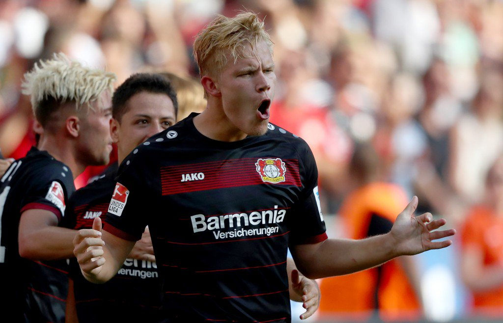 LEVERKUSEN, GERMANY - SEPTEMBER 10: Joel Pohjanpalo of Leverkusen celebrates after scoring his teams second goal during the Bundesliga match between Bayer 04 Leverkusen and Hamburger SV at BayArena on September 10, 2016 in Leverkusen, Germany. (Photo by Lars Baron/Bongarts/Getty Images)