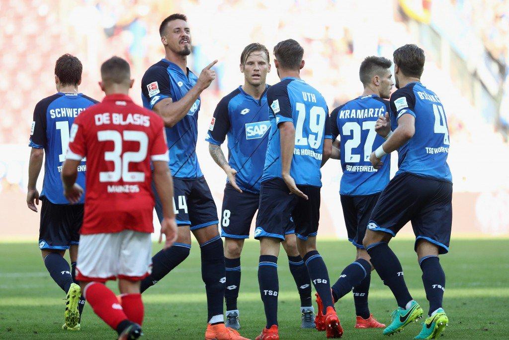 MAINZ, GERMANY - SEPTEMBER 11: Sandro Wagner #14 of Hoffenheim celebrates his team