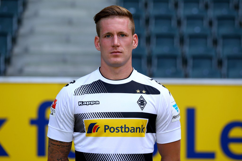 MOENCHENGLADBACH, GERMANY - AUGUST 01: Andre Hahn of Moenchengladbach poses during the team presentation of Borussia Moenchengladbach at Borussia-Park on August 1, 2016 in Moenchengladbach, Germany. (Photo by Christof Koepsel/Bongarts/Getty Images)