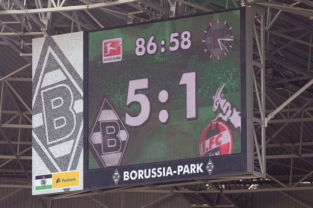 MOENCHENGLADBACH, GERMANY - APRIL 10: The video screen shows the result of the Bundesliga match between Borussia Moenchengladbach and 1. FC Koeln at Borussia Park on April 10, 2011 in Moenchengladbach, Germany. (Photo by Christof Koepsel/Bongarts/Getty Images)