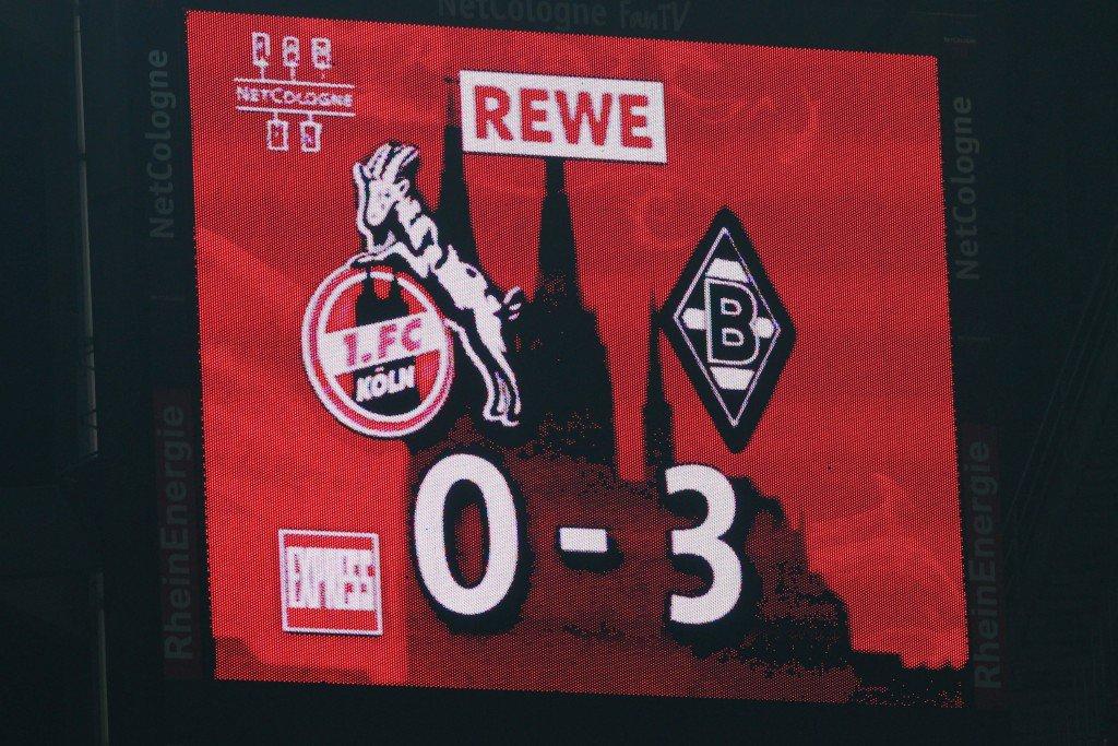 COLOGNE, GERMANY - NOVEMBER 25: The videoscreen shows the result of the Bundesliga match between 1. FC Koeln and Borussia Moenchengladbach at RheinEnergieStadion on November 25, 2011 in Cologne, Germany. (Photo by Christof Koepsel/Bongarts/Getty Images)