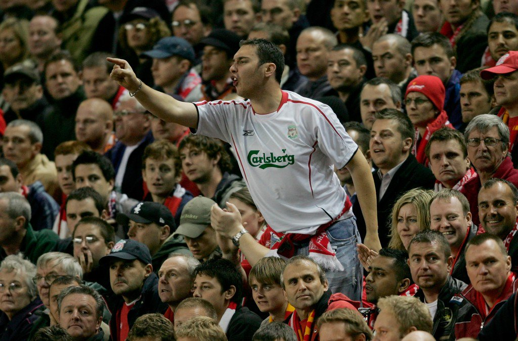 LIVERPOOL, UNITED KINGDOM - SEPTEMBER 28: A Liverpool fan shows his feelings during the UEFA Champions League Group G match between Liverpool v Chelsea at Anfield on September 28, 2005 in Liverpool, England. (Photo by Shaun Botterill/Getty Images)