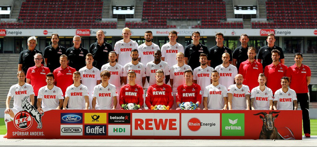 COLOGNE, GERMANY - JULY 18: Upper row (L-R) starts with Doctor Peter Schaeferhoff, doctor.Paul Klein, kit manager Frank Almstedt, kit manager Kresimir Ban, Frederik Soerensen, Dominic Maroh, Dominique Heintz, physiotherapist Paul Schiedges, physiotherapist Thorsten Klopp, leader physiotherpaits and rehabilitation Klaus Maierstein, and team manager Max Vollmar. The middle row (L-R) head coach Peter Stoeger, assistant coach Trainer Manfred Schmid, Simon Zoller, Marco Hoeger, Mergim Mavraj, Anthony Modeste, Artjoms Rudnevs, Filip Mladenovic, Marcel Risse, goalkeeper coach Alexander Bade, athletic coach Yann-Benjamin Kugel, rehabilitation coach Marcel Abanoz. The front row (L-R) starts with Matthias Lehmann, Milos Jojic, Salih Oezcan, Yuya Osako, Sven Mueller, Timo Horn, Thomas Kessler, Pawel Olkowski, Konstantin Rausch, Marcel Hartel and Leonardo Bittencourt pose during the team presentation of 1. FC Koeln at Rhein-Energie-Stadion on July 18, 2016 in Cologne, Germany. (Photo by Christof Koepsel/Bongarts/Getty Images)