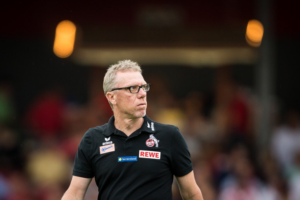 COLOGNE, GERMANY - JULY 26: Coach Peter Stoeger of FC Koeln prior the pre-season friendly match between Fortuna Koeln and 1. FC Koeln at Sued Stadion on July 26, 2016 in Cologne, Germany. (Photo by Maja Hitij/Bongarts/Getty Images)