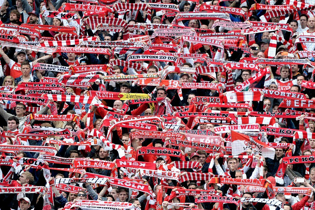 COLOGNE, GERMANY - APRIL 25: Supporters of Koeln are seen during the Bundesliga match between 1. FC Koeln and Bayer 04 Leverkusen at RheinEnergieStadion on April 25, 2015 in Cologne, Germany. (Photo by Sascha Steinbach/Bongarts/Getty Images)