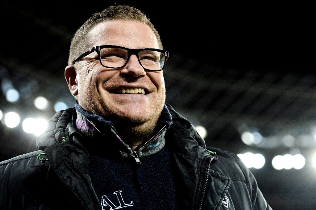 LEVERKUSEN, GERMANY - DECEMBER 12: Manager Max Eberl of Moenchengladbach looks on prior to the Bundesliga match between Bayer Leverkusen and Borussia Moenchengladbach at BayArena on December 12, 2015 in Leverkusen, Germany. (Photo by Sascha Steinbach/Bongarts/Getty Images)