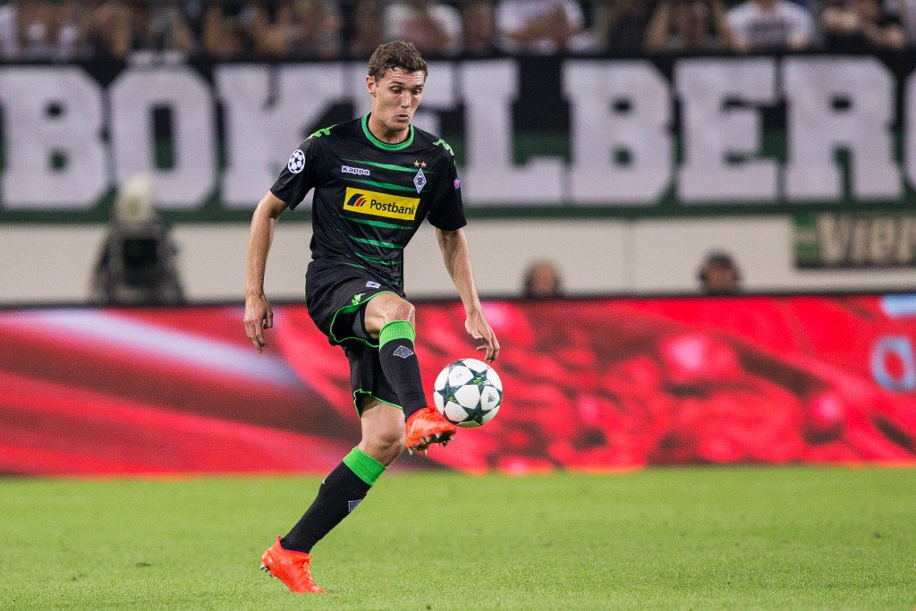 MOENCHENGLADBACH, GERMANY - AUGUST 24: Andreas Christensen of Moenchengladbach with ball during the UEFA Champions League Qualifying Play-Offs Round: Second Leg between Borussia Moenchengladbach and YB Bern at Borussia-Park on August 24, 2016 in Moenchengladbach, Germany. (Photo by Maja Hitij/Bongarts/Getty Images)